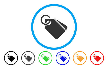 Tags rounded icon. Vector illustration style is a grey flat iconic tags symbol inside a circle. Additional color versions are black, gray, green, blue, red, orange.