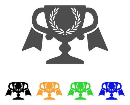 Achievement Award Cup vector icon. Style is a flat graphic symbol in gray, black, yellow, blue, green color versions. Designed for web and mobile apps. Illustration