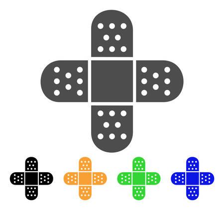 Pleisterhulp Adhesive Patch vector pictograph. Stijl is een plat grafisch symbool in grijze, zwarte, gele, blauwe en groene kleurvarianten. Ontworpen voor web- en mobiele apps.