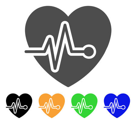 health care analytics: Cardio Pulse vector pictograph. Style is a flat graphic symbol in grey, black, yellow, blue, green color variants. Designed for web and mobile apps.