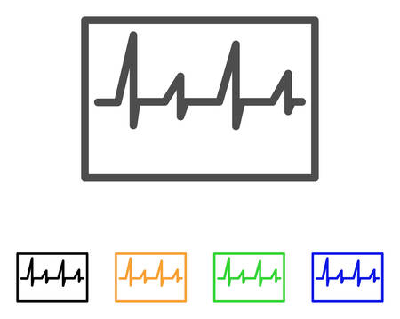 Cardiogram vector icon. Style is a flat graphic symbol in gray, black, yellow, blue, green color variants. Designed for web and mobile apps. Illustration