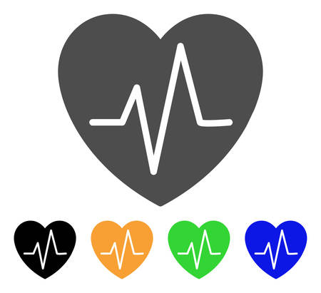 Cardiology Heart Pulse vector pictograph. Style is a flat graphic symbol in grey, black, yellow, blue, green color versions. Designed for web and mobile apps.