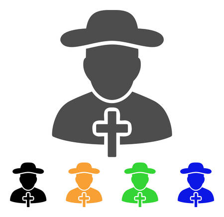 Christian Priest vector pictogram. Style is a flat graphic symbol in grey, black, yellow, blue, green color versions. Designed for web and mobile apps.