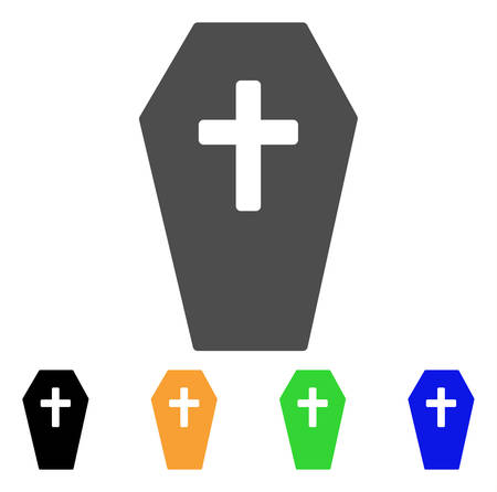 Coffin vector pictogram. Style is a flat graphic symbol in grey, black, yellow, blue, green color variants. Designed for web and mobile apps.