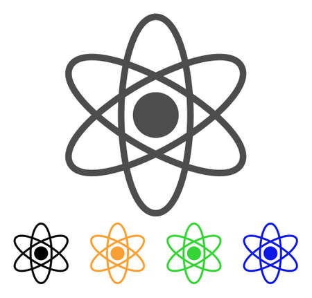 Atom vector pictogram. Style is a flat graphic symbol in grey, black, yellow, blue, green color variants. Designed for web and mobile apps.