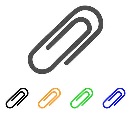 Attach Paperclip vector pictogram. Style is a flat graphic symbol in gray, black, yellow, blue, green color versions. Designed for web and mobile apps.