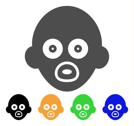 Baby Head vector pictograph. Style is a flat graphic symbol in gray, black, yellow, blue, green color versions. Designed for web and mobile apps. Illustration