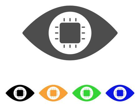 バイオニックの目回路ベクトル絵文字。スタイルは、グレー、黒、黄色、青、緑の色のバージョンでフラット グラフィック シンボルです。ウェブ   イラスト・ベクター素材