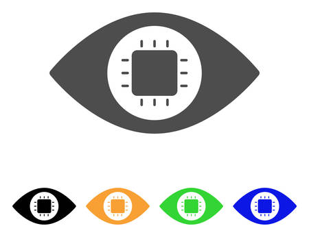 macular: Bionic Eye Circuit vector pictograph. Style is a flat graphic symbol in grey, black, yellow, blue, green color versions. Designed for web and mobile apps. Illustration