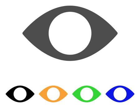 盲目の目のベクトル絵文字。スタイルは、グレー、黒、黄色、青、緑の色のバージョンでフラット グラフィック シンボルです。ウェブ アプリやモ