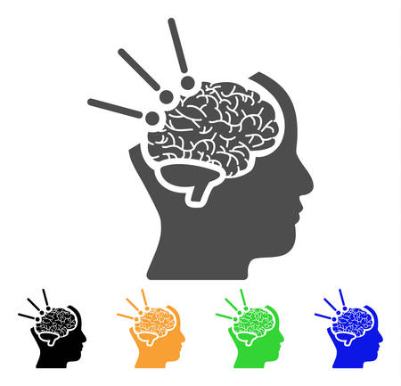 Brain Operation vector pictograph. Style is a flat graphic symbol in grey, black, yellow, blue, green color versions. Designed for web and mobile apps. Illustration