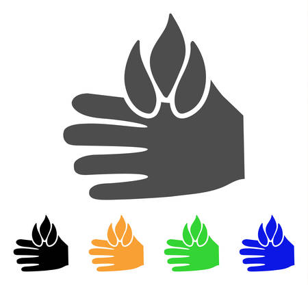Burn Hand vector pictograph. Style is a flat graphic symbol in gray, black, yellow, blue, green color variants. Designed for web and mobile apps. Illustration