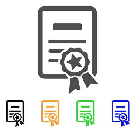 Certificate vector pictograph. Style is a flat graphic symbol in grey, black, yellow, blue, green color variants. Designed for web and mobile apps.