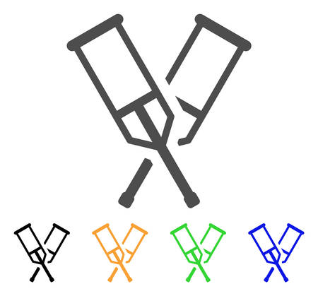 Crutches vector icon. Style is a flat graphic symbol in grey, black, yellow, blue, green color variants. Designed for web and mobile apps.