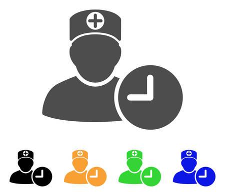 의사 약속 시계 벡터 아이콘입니다. 스타일은 회색, 검정색, 노란색, 파란색, 녹색 색상 버전의 평면 그래픽 심볼입니다. 웹 및 모바일 앱용으로 설계되