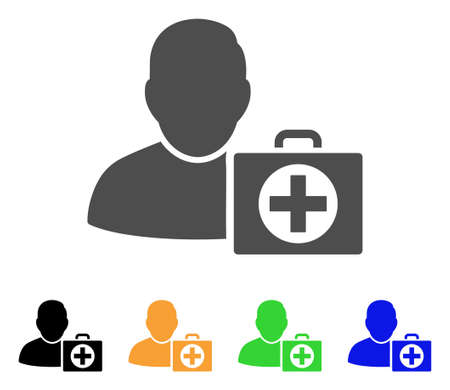 Doctor vector pictogram. Style is a flat graphic symbol in grey, black, yellow, blue, green color versions. Designed for web and mobile apps.