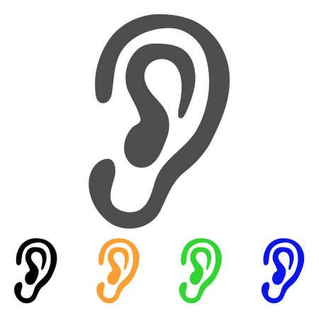 耳のベクター アイコン。スタイルは、グレー、黒、黄色、青、緑の色のバージョンでフラット グラフィック シンボルです。ウェブ アプリやモバイ  イラスト・ベクター素材