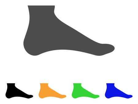 footwear: Foot vector pictogram. Style is a flat graphic symbol in gray, black, yellow, blue, green color variants. Designed for web and mobile apps. Illustration