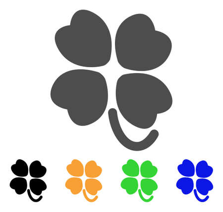 leafed: Four-Leafed Clover vector icon. Style is a flat graphic symbol in grey, black, yellow, blue, green color versions. Designed for web and mobile apps.