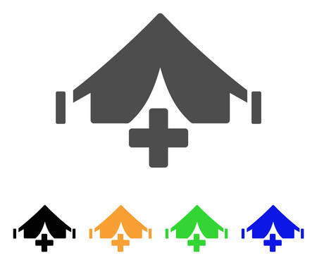 Field Hospital vector pictograph. Style is a flat graphic symbol in gray, black, yellow, blue, green color versions. Designed for web and mobile apps. Çizim
