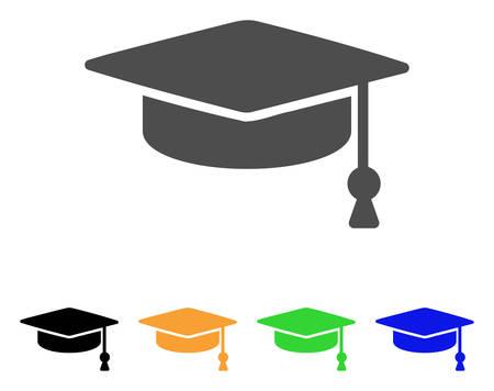 Abschluss-Kappe Vektor Piktogramm. Style ist ein flaches Grafiksymbol in den Varianten Grau, Schwarz, Gelb, Blau, Grün. Entwickelt für Web- und mobile Apps.