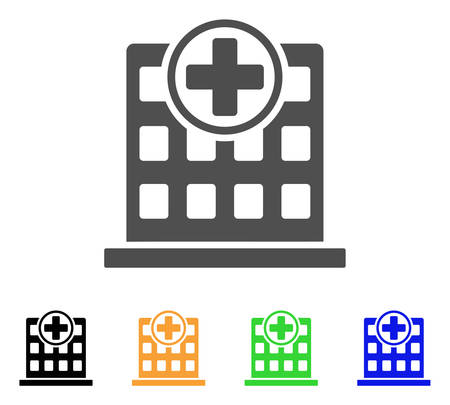 polyclinic: Hospital Building vector pictogram. Style is a flat graphic symbol in grey, black, yellow, blue, green color variants. Designed for web and mobile apps.