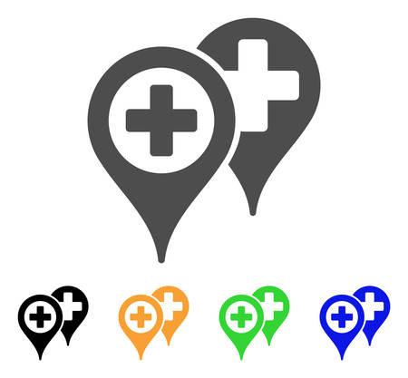polyclinic: Hospital Locations vector icon. Style is a flat graphic symbol in grey, black, yellow, blue, green color variants. Designed for web and mobile apps. Illustration