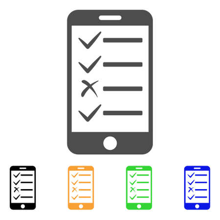 Mobile Todo List vector pictogram. Style is a flat graphic symbol in gray, black, yellow, blue, green color variants. Designed for web and mobile apps.