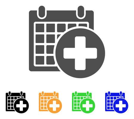 의료 약속 벡터 그림입니다. 스타일은 회색, 검정색, 노란색, 파란색, 녹색 색상 변형의 평면 그래픽 심볼입니다. 웹 및 모바일 앱용으로 설계되었습니