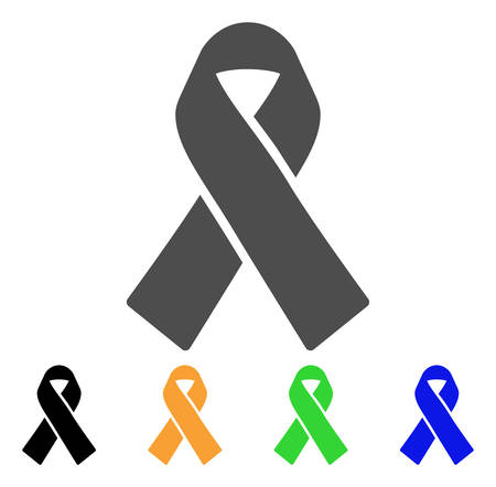 Mourning Ribbon vector pictograph. Style is a flat graphic symbol in grey, black, yellow, blue, green color variants. Designed for web and mobile apps.