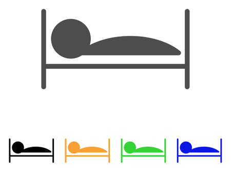 lying in bed: Patient Sleep vector pictograph. Style is a flat graphic symbol in gray, black, yellow, blue, green color variants. Designed for web and mobile apps.