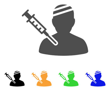 Patient Vaccination vector icon. Style is a flat graphic symbol in grey, black, yellow, blue, green color versions. Designed for web and mobile apps. Illustration