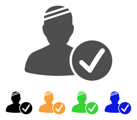 valid: Patient Valid vector icon. Style is a flat graphic symbol in grey, black, yellow, blue, green color versions. Designed for web and mobile apps.