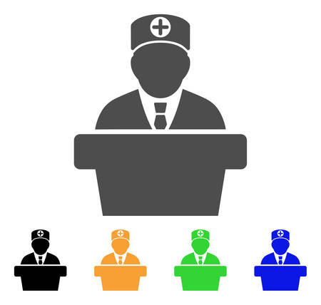 bureaucrat: Official Doctor Tribune vector pictogram. Style is a flat graphic symbol in gray, black, yellow, blue, green color variants. Designed for web and mobile apps.