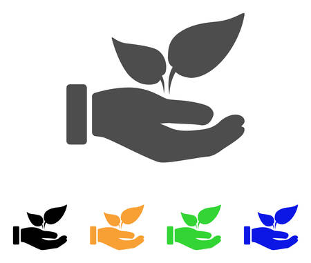 Organic Supplement Hand vector pictogram. Style is a flat graphic symbol in gray, black, yellow, blue, green color variants. Designed for web and mobile apps.