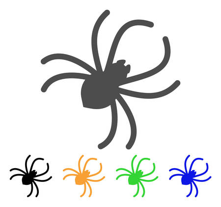 Parasite Spider vector icon. Style is a flat graphic symbol in grey, black, yellow, blue, green color variants. Designed for web and mobile apps.