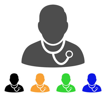 auscultation: Physician vector pictograph. Style is a flat graphic symbol in gray, black, yellow, blue, green color variants. Designed for web and mobile apps.