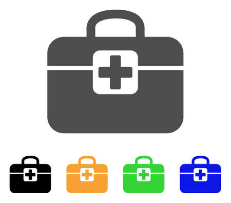Medkit vector pictogram. Style is a flat graphic symbol in grey, black, yellow, blue, green color variants. Designed for web and mobile apps. Stock Vector - 85206917