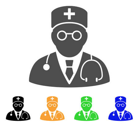 Physician vector pictogram. Style is a flat graphic symbol in gray, black, yellow, blue, green color variants. Designed for web and mobile apps.