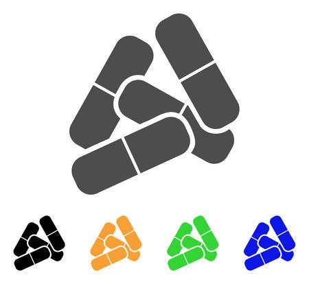 Pillen vector pictogram. Stijl is een plat grafisch symbool in de uitvoeringen grijs, zwart, geel, blauw en groen. Ontworpen voor web- en mobiele apps. Stock Illustratie