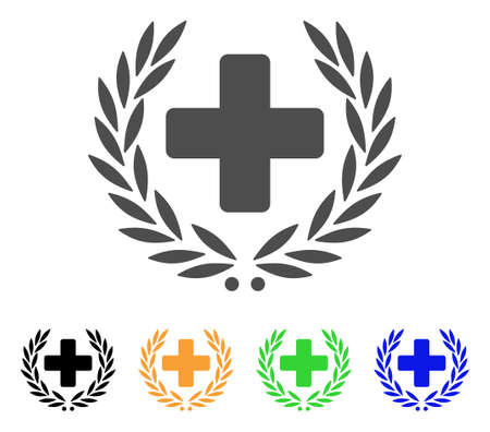 Medical Award Wreath vector pictogram. Style is a flat graphic symbol in gray, black, yellow, blue, green color versions. Designed for web and mobile apps.