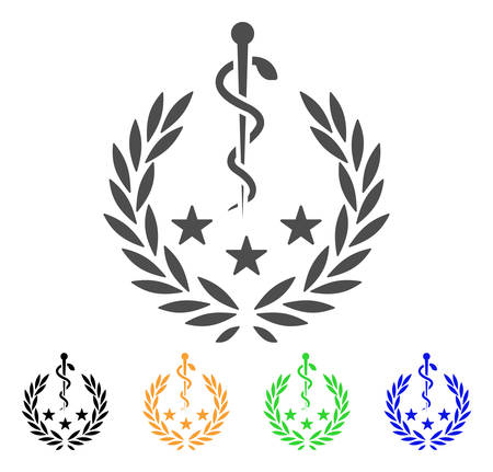 Medical Laurel Wreath vector icon. Style is a flat graphic symbol in grey, black, yellow, blue, green color variants. Designed for web and mobile apps.