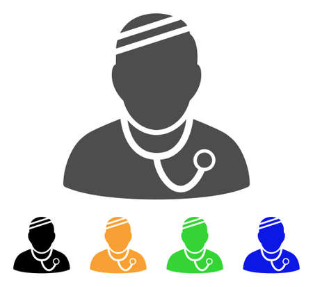 auscultation: Sick Physician vector pictograph. Style is a flat graphic symbol in gray, black, yellow, blue, green color variants. Designed for web and mobile apps.