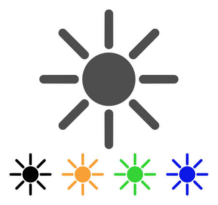 Sun vector pictogram. Style is a flat graphic symbol in gray, black, yellow, blue, green color variants. Designed for web and mobile apps. Illustration
