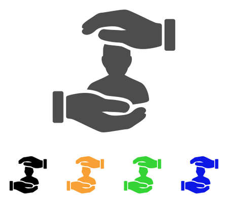 User Care Hands vector icon. Style is a flat graphic symbol in gray, black, yellow, blue, green color versions. Designed for web and mobile apps. Illustration