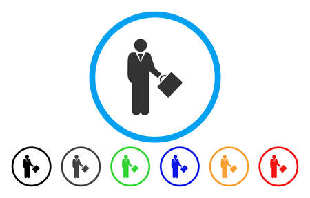 Businessman rounded icon. Vector illustration style is a grey flat iconic businessman symbol inside a circle. Additional color versions are black, gray, green, blue, red, orange.