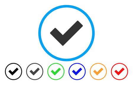 Marque Tick icono redondeado. El estilo del ejemplo del vector es un símbolo de señal de verificación icónico plano gris dentro de un círculo. Las variantes de color adicionales son negro, gris, verde, azul, rojo, naranja.