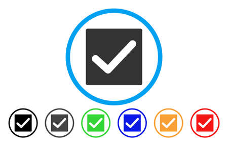 marked boxes: Check rounded icon. Vector illustration style is a gray flat iconic check symbol inside a circle. Additional color versions are black, grey, green, blue, red, orange. Illustration
