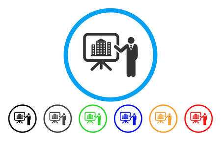 House Presentation rounded icon. Vector illustration style is a gray flat iconic house presentation symbol inside a circle. Additional color variants are black, gray, green, blue, red, orange.