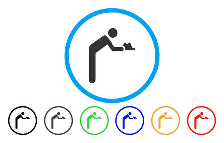 Servant Person rounded icon. Vector illustration style is a grey flat iconic servant person symbol inside a circle. Additional color variants are black, grey, green, blue, red, orange.